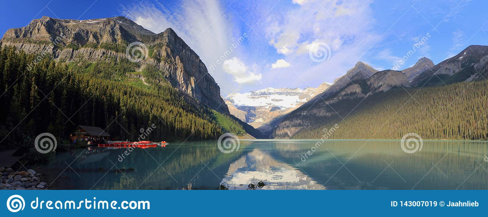 Peaceful Lake Louise and Victoria Glacier in Morning Light, Banff National Park, Alberta, Panorama