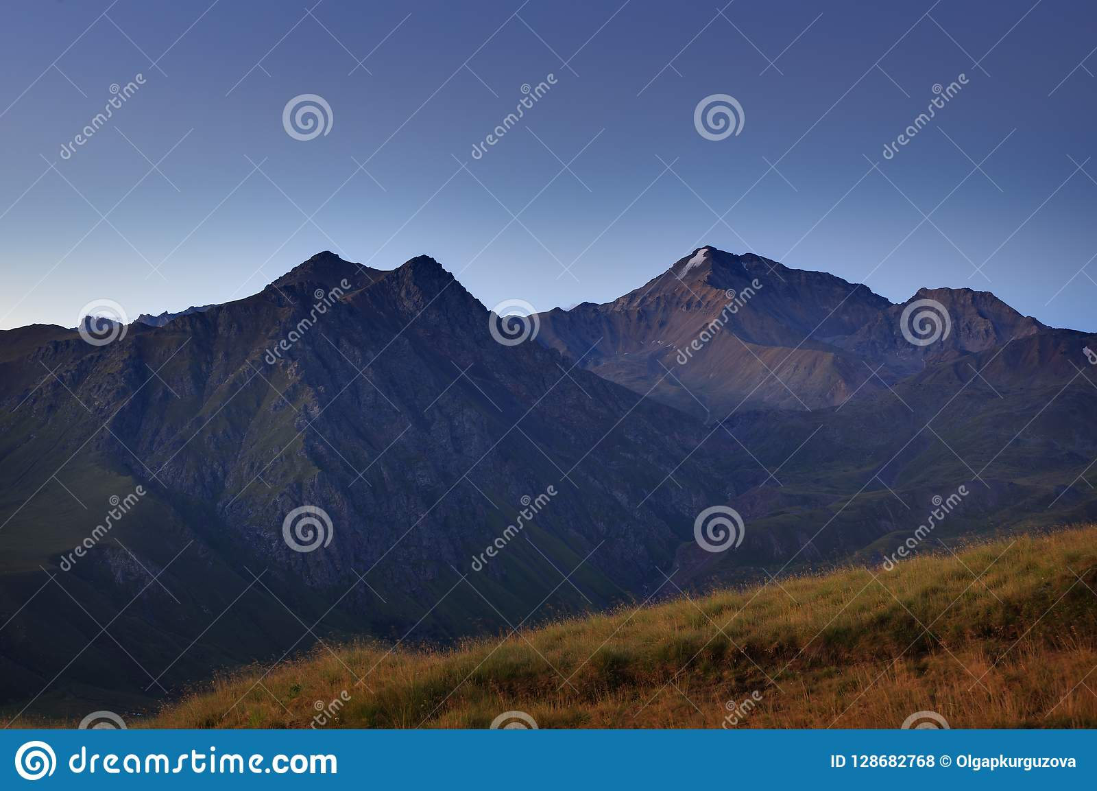 Early morning in the mountain area. Dawn over the mountains