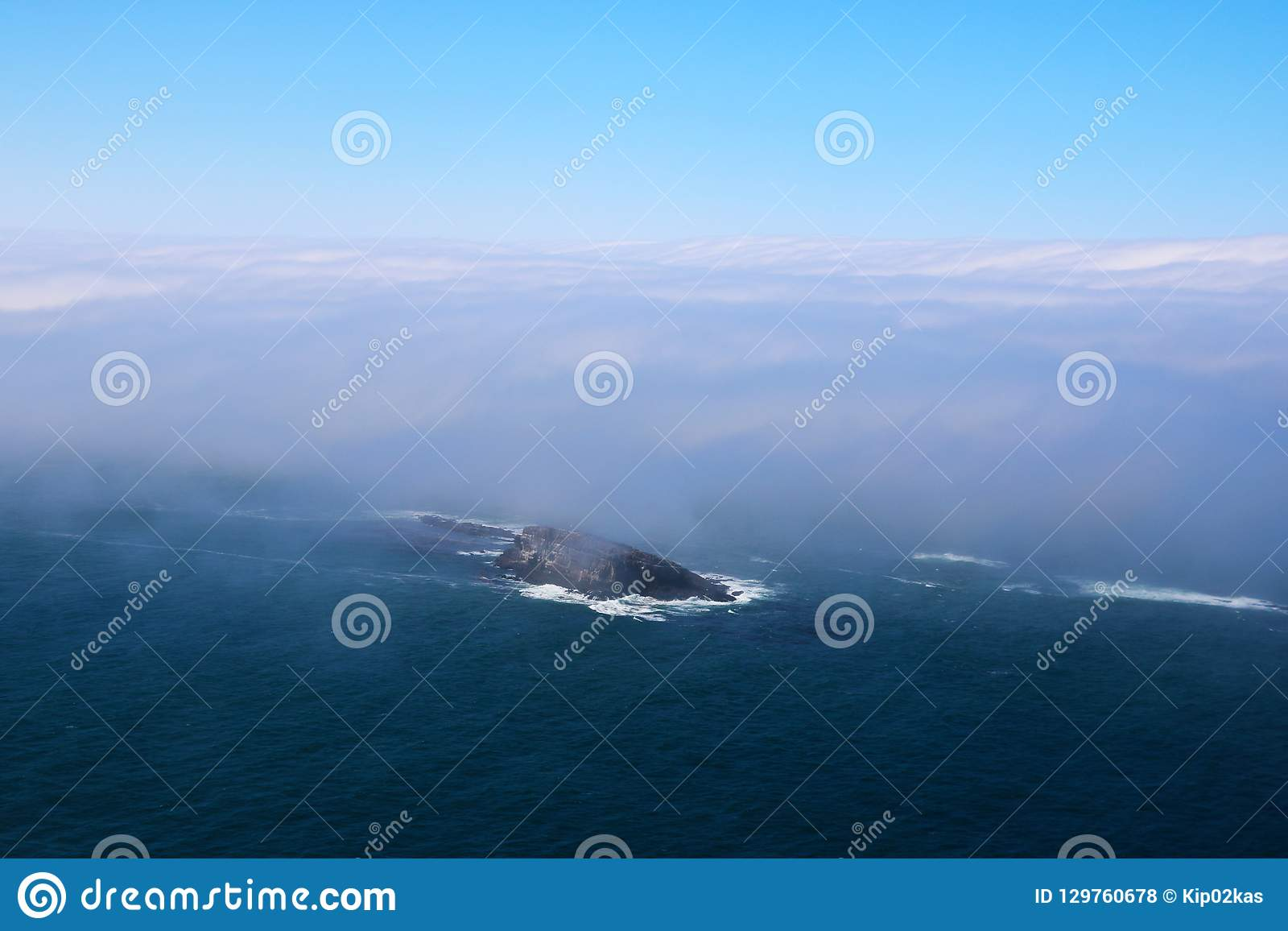 Early morning in the pacific ocean, view from above