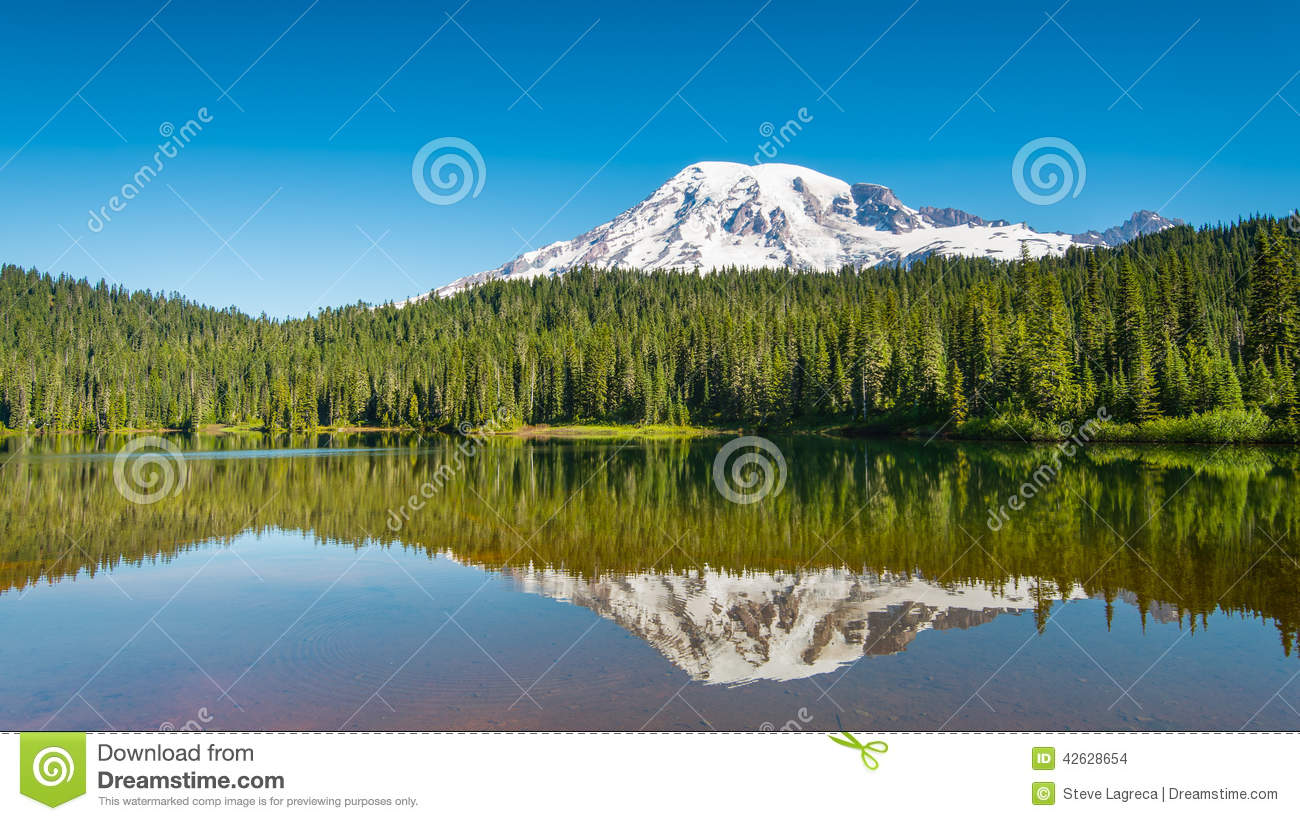 Early Morning at Reflection Lakes, Mount Rainier,