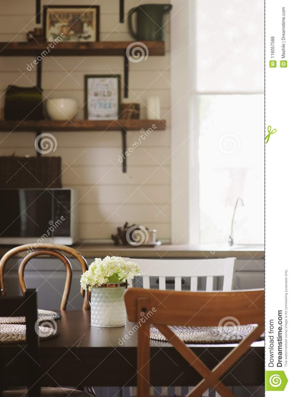 Early Morning In The Rustic Grey Country Kitchen Stock Photo Image
