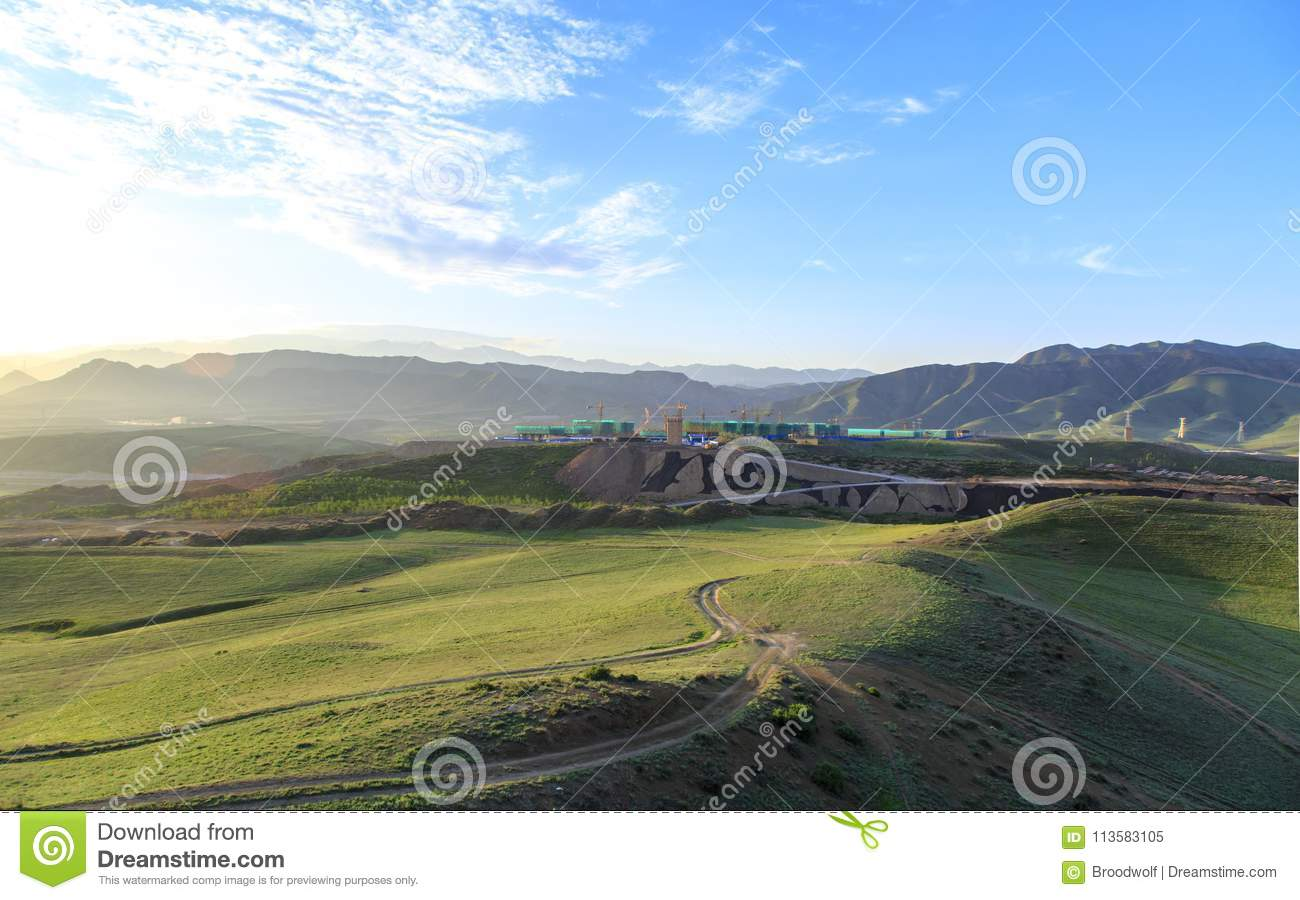 the early morning scenery 04 stock image - image of grassland