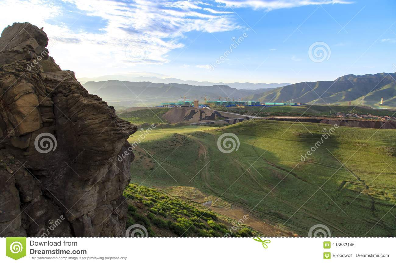 the early morning scenery 05 stock image - image of grassland, blue