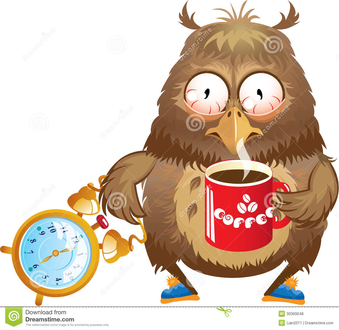 Early morning time funny owl with cup of coffee and alarm clock in
