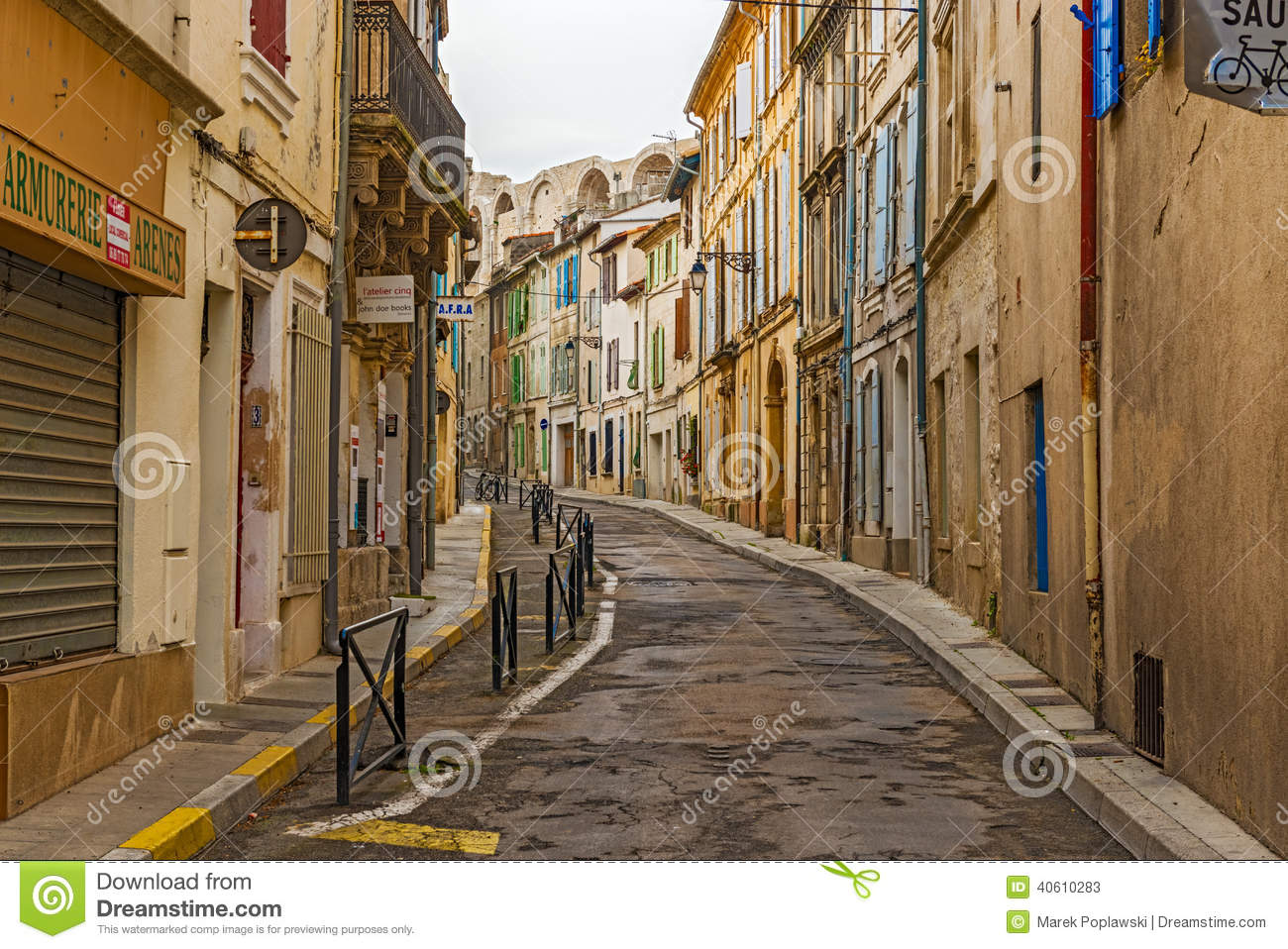 Early Morning View At The Street In Old City Of Arles