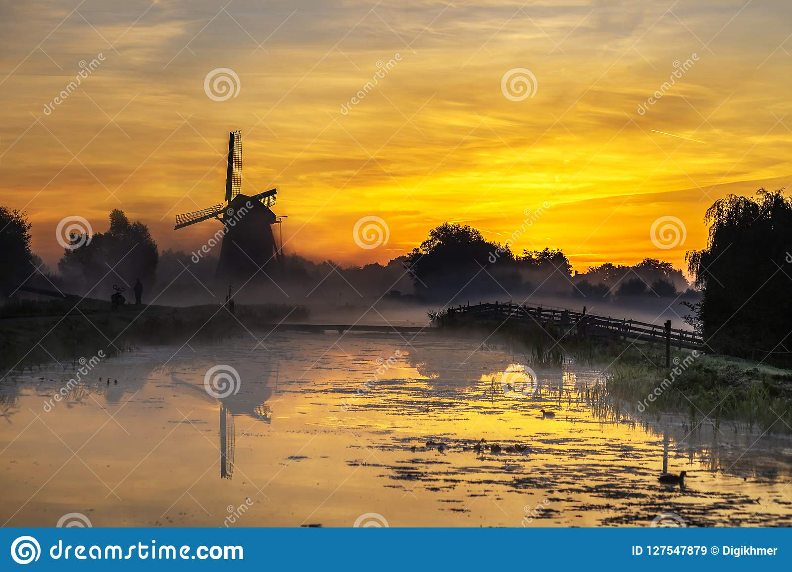 Sunrise on the Dutch windmill