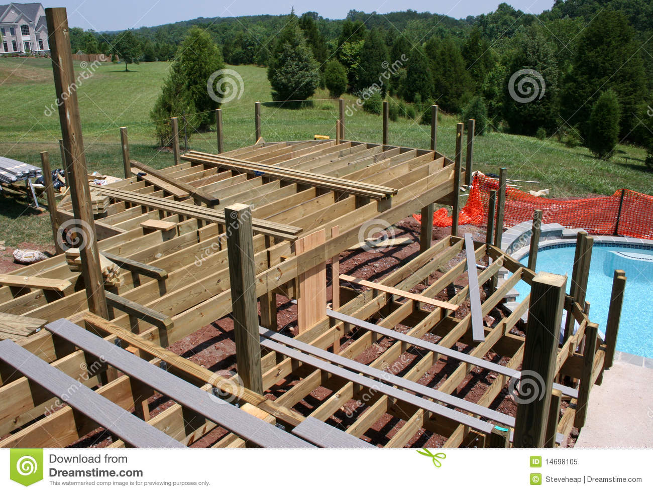 Garden pool construction stages cartoon vector for Stages in house construction