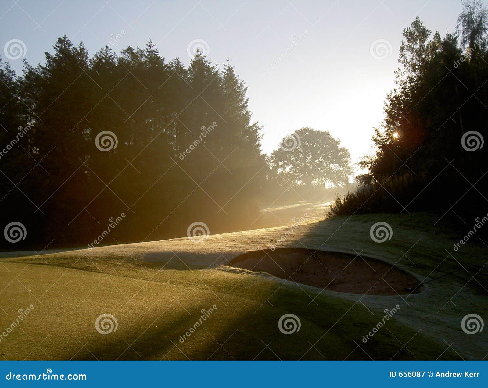 Early sunrise on a golf course