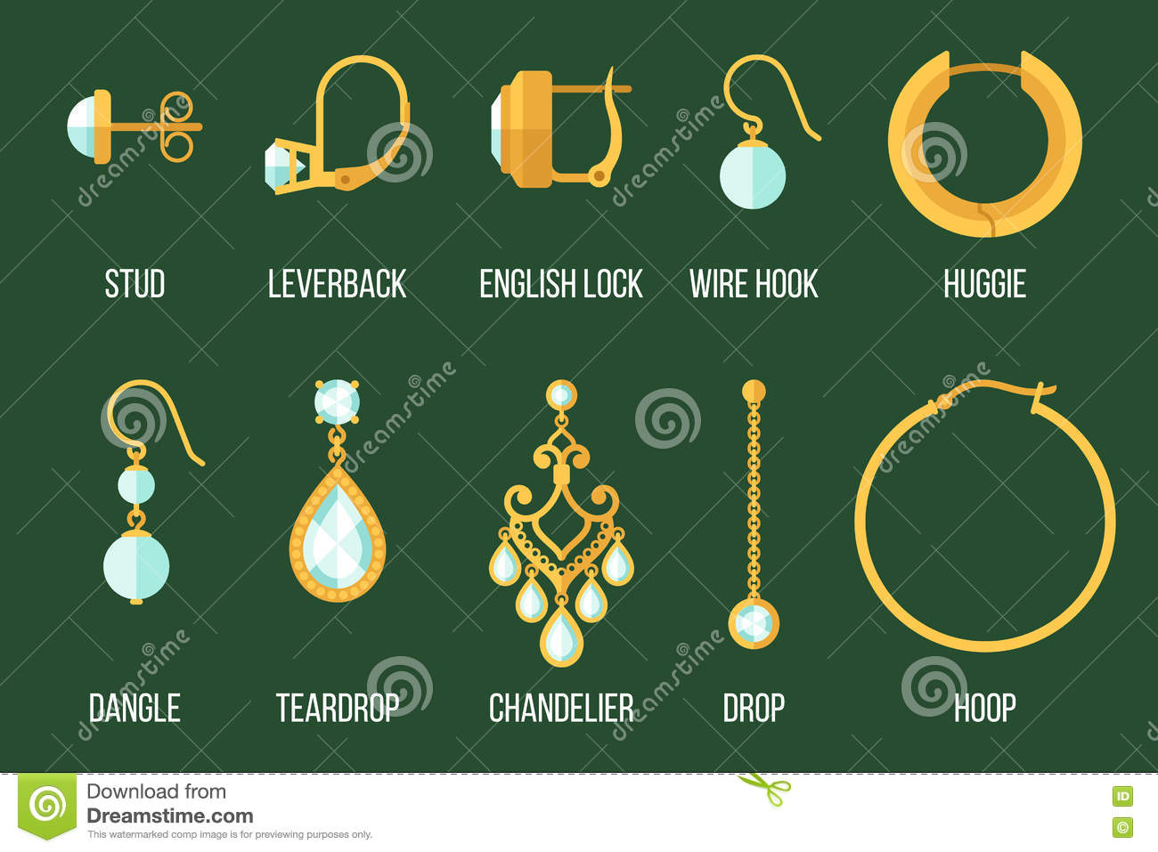 Earring types stock vector. Illustration of english ...