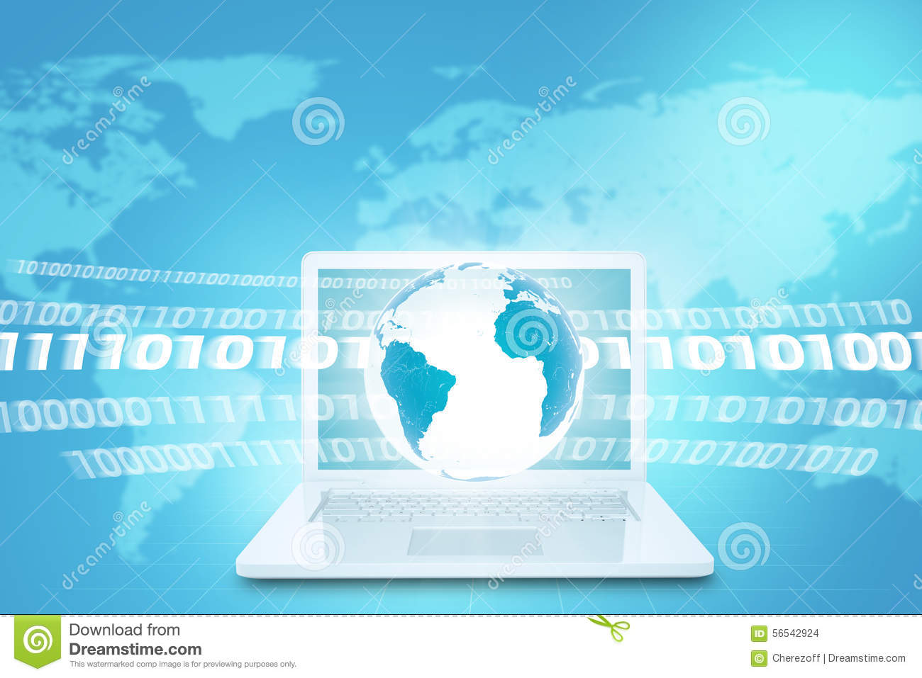 Earth above white laptop with world map stock illustration download comp gumiabroncs Choice Image