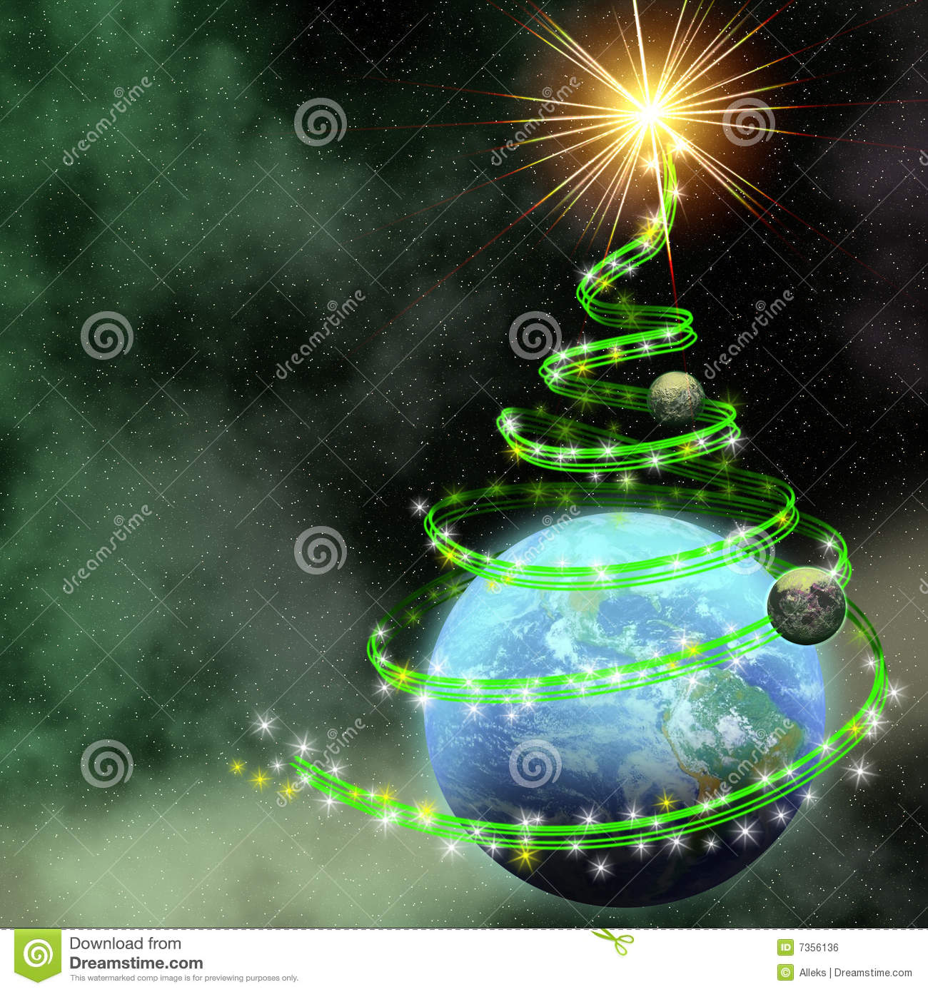 earth with abstract christmas tree spiral royalty free stock image