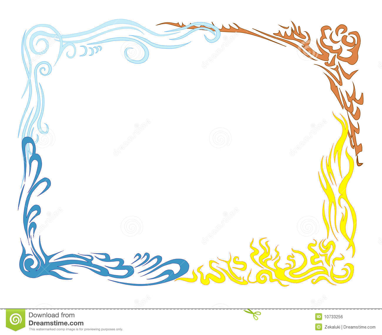 Earth Air Fire And Water. Large Frame. Stock Vector - Illustration ...