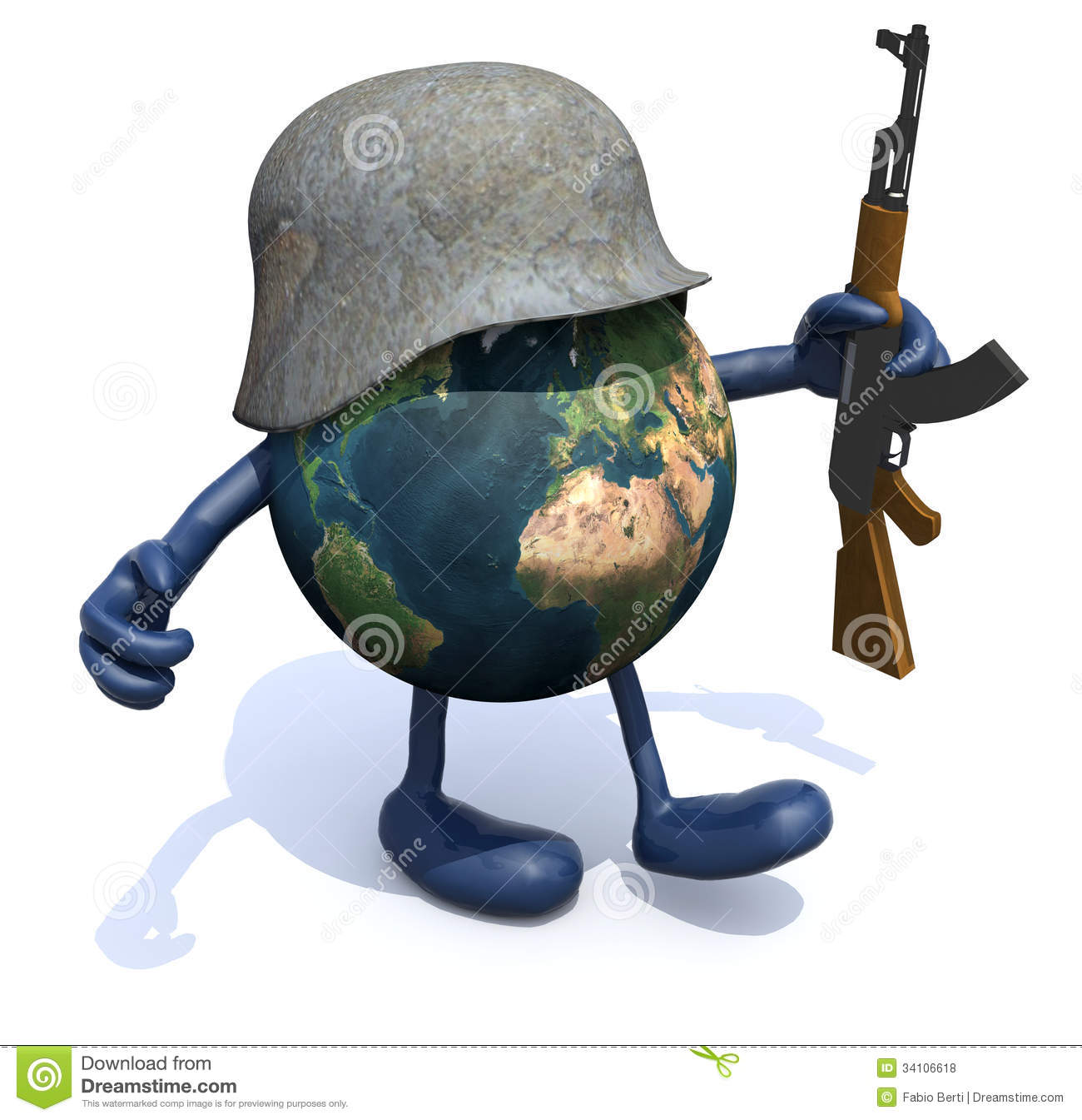 Earth With Arms And Legs German Helmet And Rifle Royalty