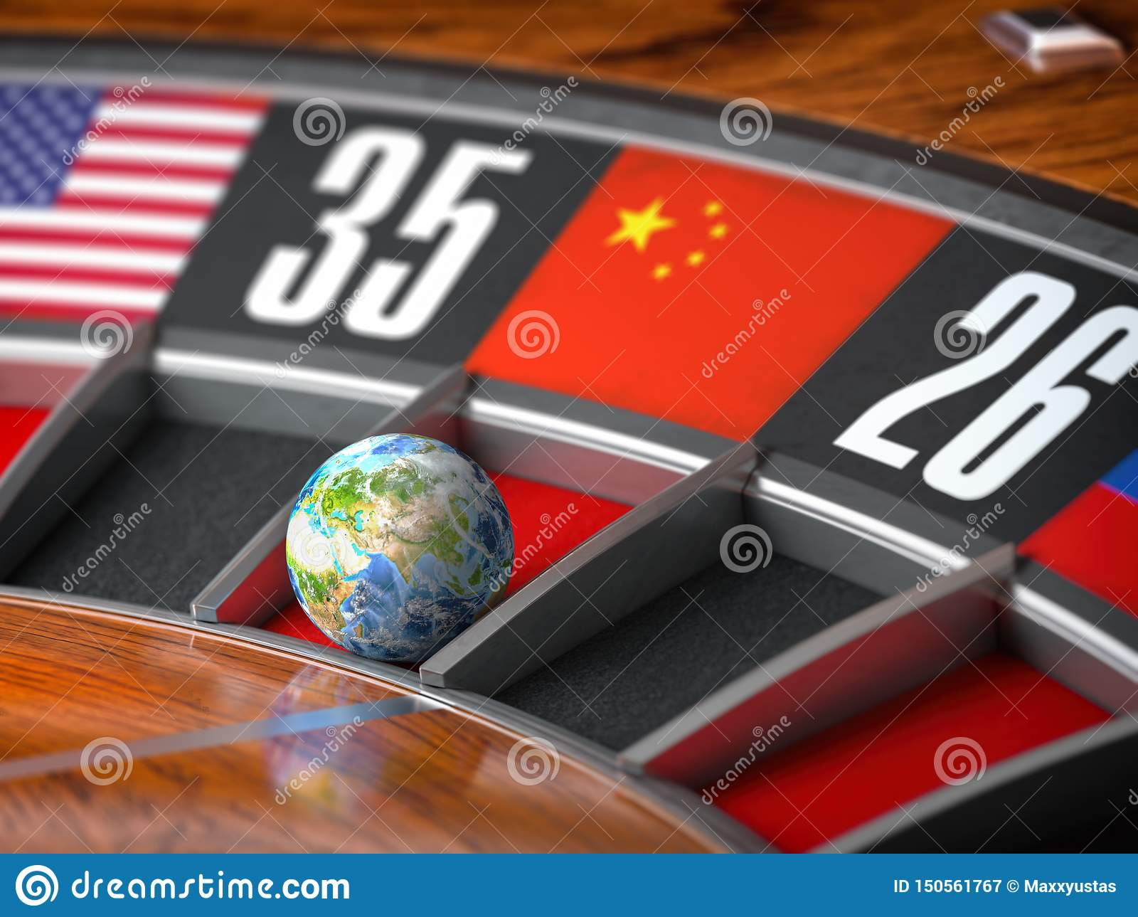 Earth as a ball of casino roulette with  flag of China in winning number. Time of world leadership of China and winning in world