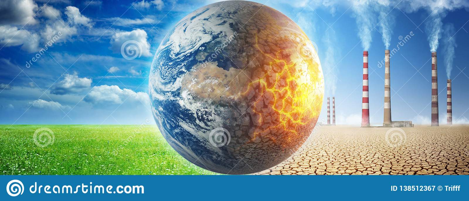 Earth on a background of grass and clouds versus a ruined Earth on a background of a dead desert with Smoking chimneys of