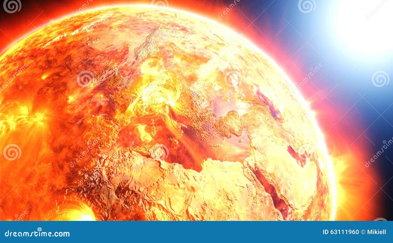 Stock Illustration Earth Burning Exploding Global Disaster Apocalyptic Scenario Elements D Rendered Image Furnished Nasa Image63111960on Asteroid Impact Tsunami
