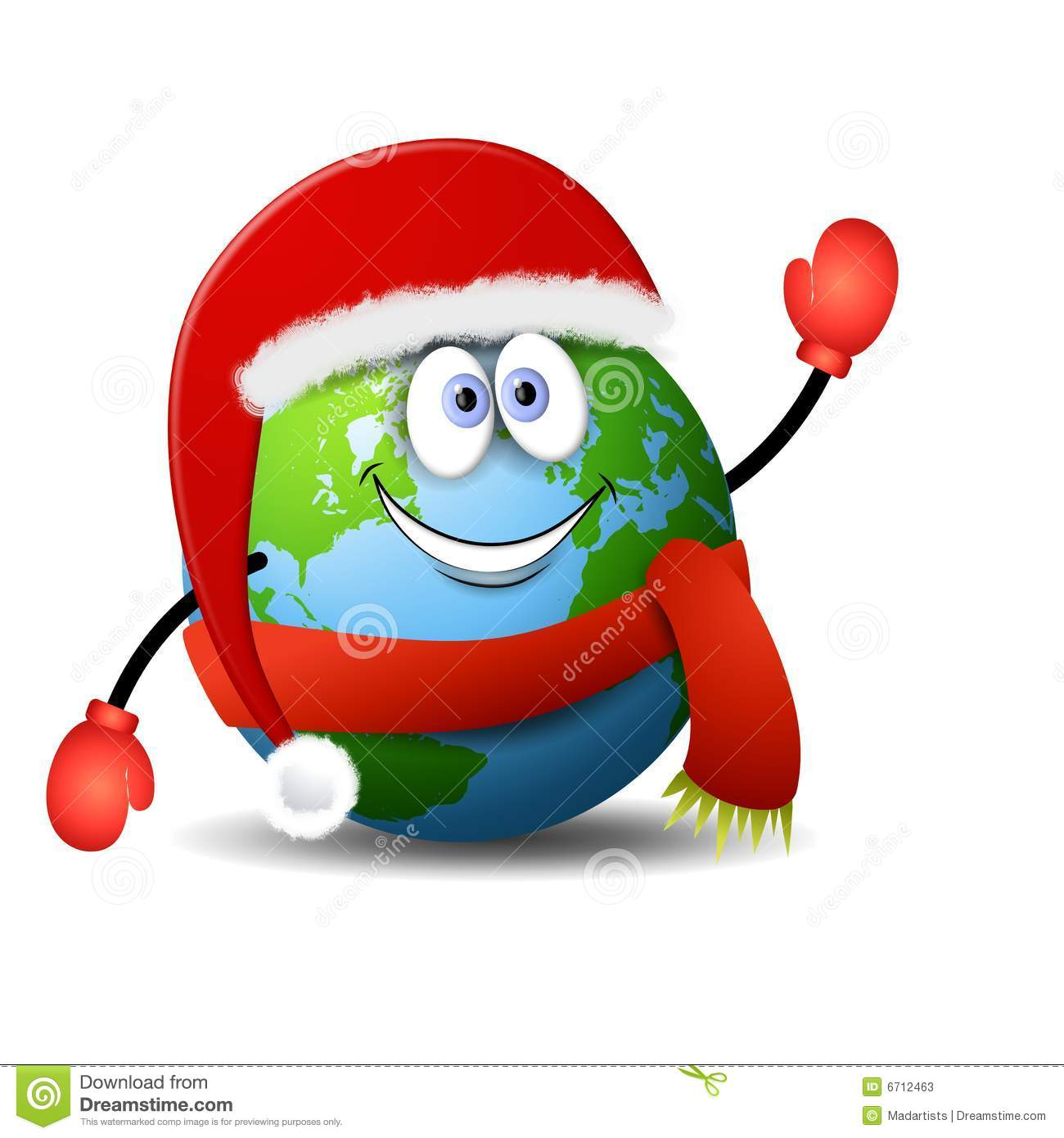 ... in red Santa hat, scarf and mittens with a big smile on his face