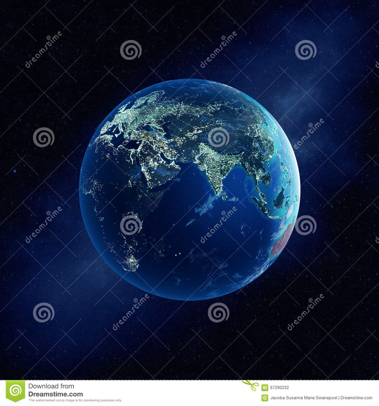 Earth with city lights at night stock illustration image for Outer space elements
