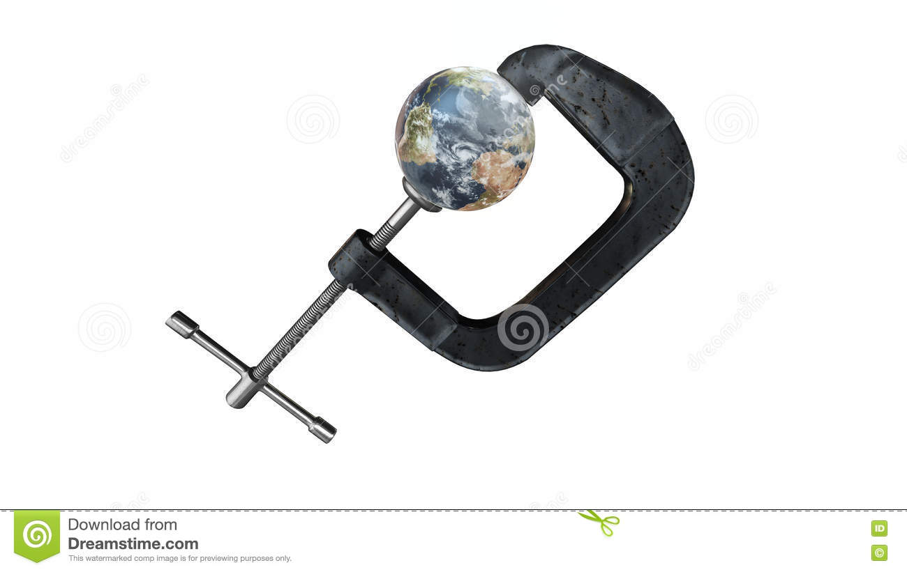 Earth in a clamp - environmental warning