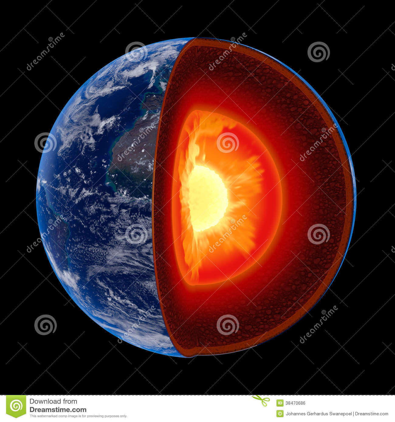 earth core structure to scale isolated stock