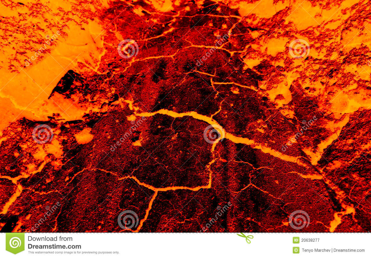 Earth cracks hot lava