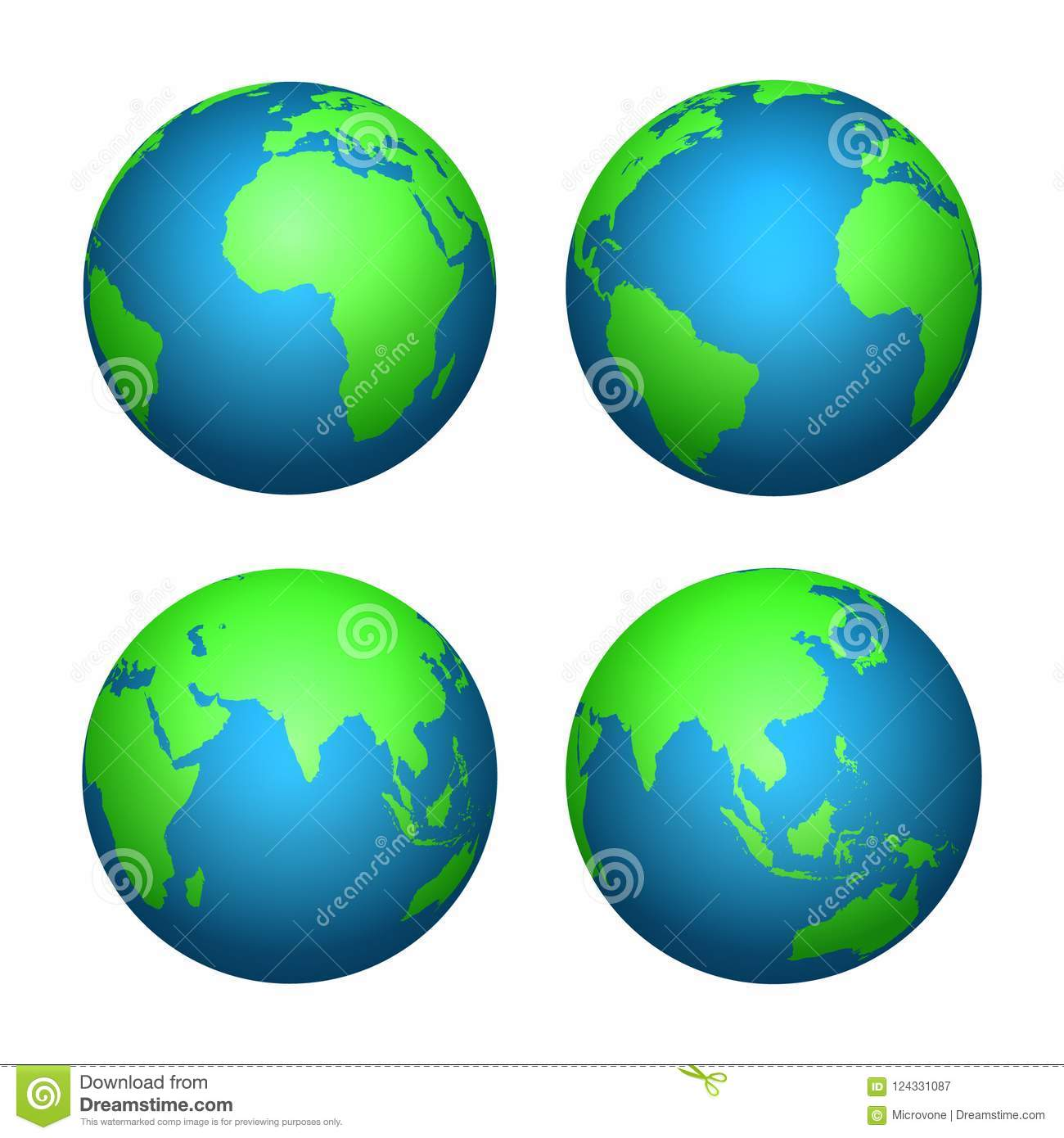 Earth 3d Globe. World Map With Green Continents And Blue Oceans ...