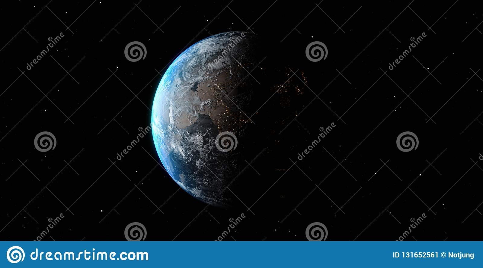 Earth 3D illustration from space day and night globe isolated on black background