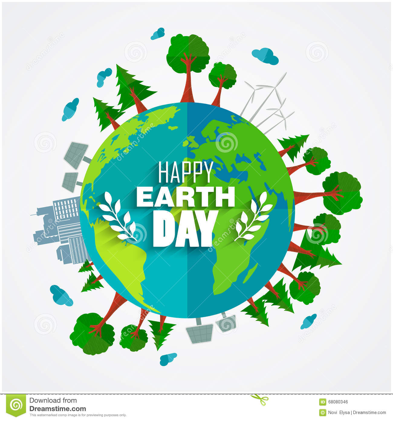Earth Day Background For Environment Symbols On Clean Earth Stock