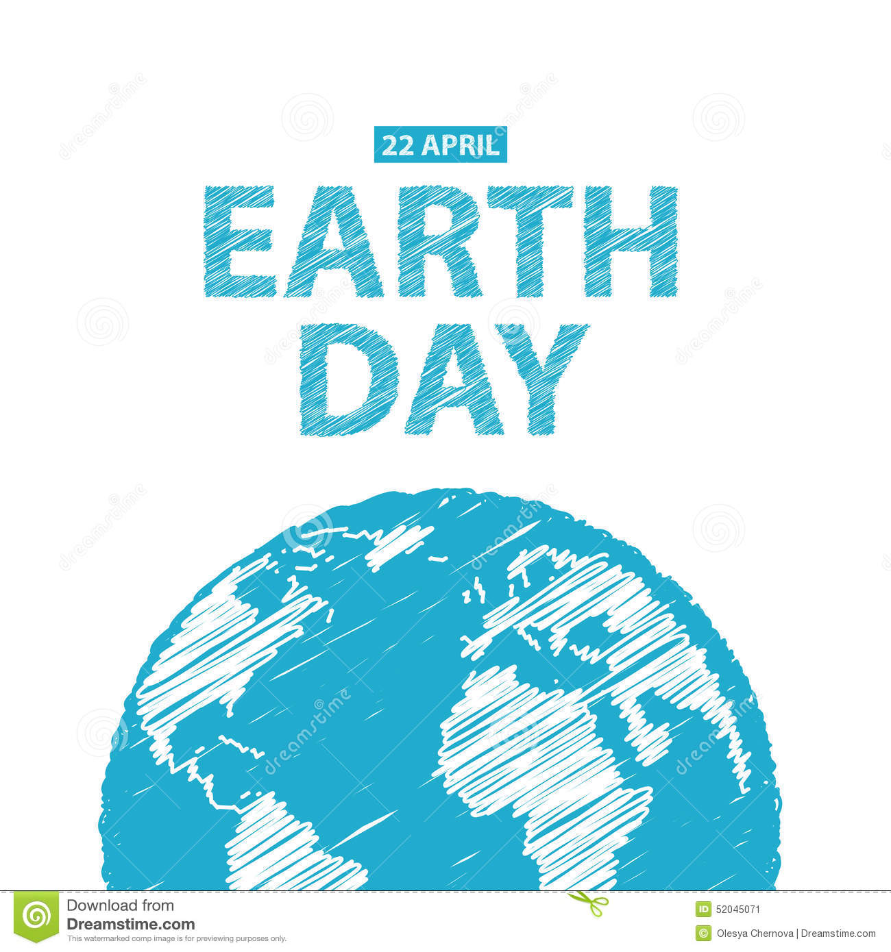 Earth Day In Blue Colors. Vector Illustration. Pencil Drawing Ef Stock