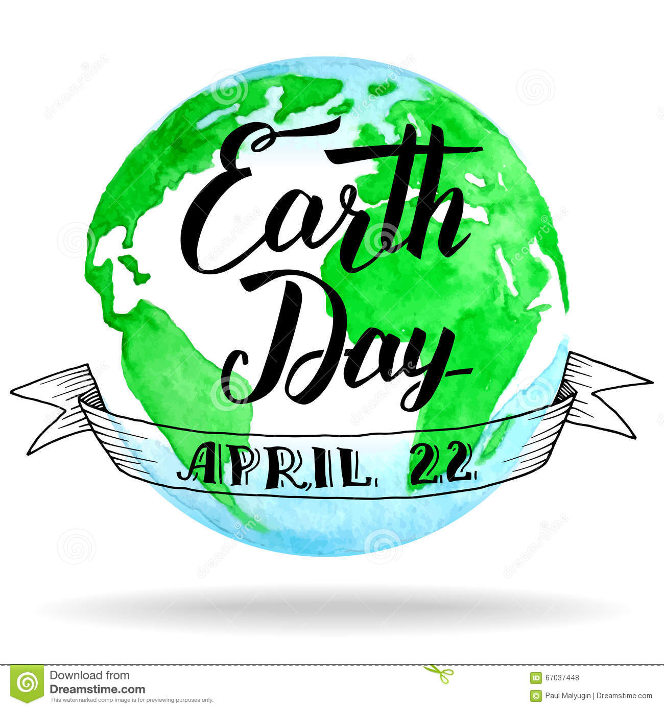Earth day calligraphy on watercolor background stock