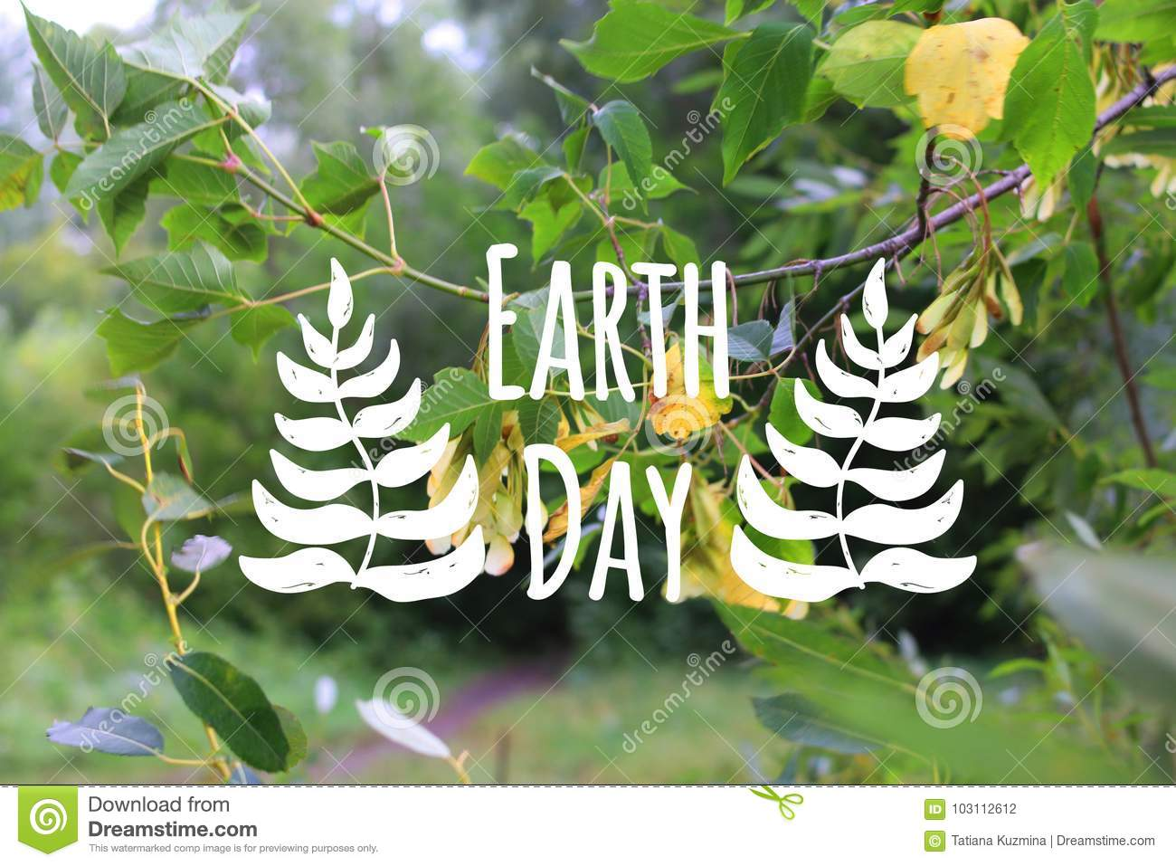 Earth day card decorated hand drawn leave on the green forest background