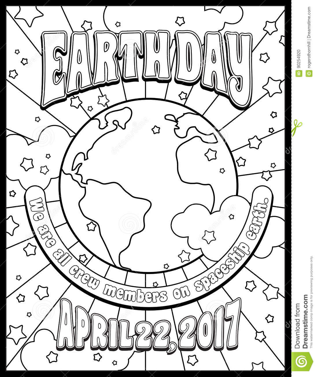 earth day coloring page stock vector image 90254920