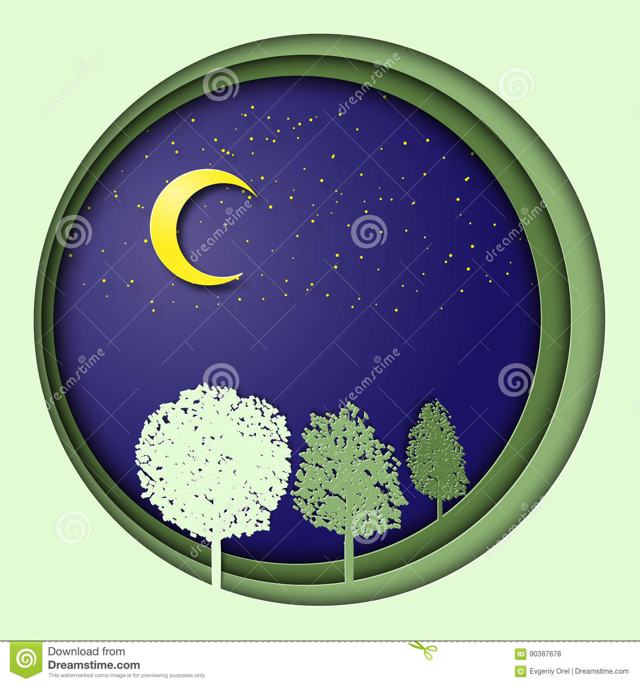 Earth Day 3d Illustration With Trees In The Night With Moon And