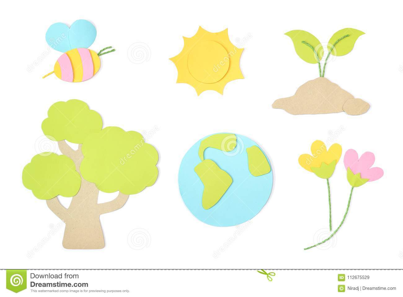Earth day element paper cut on white background