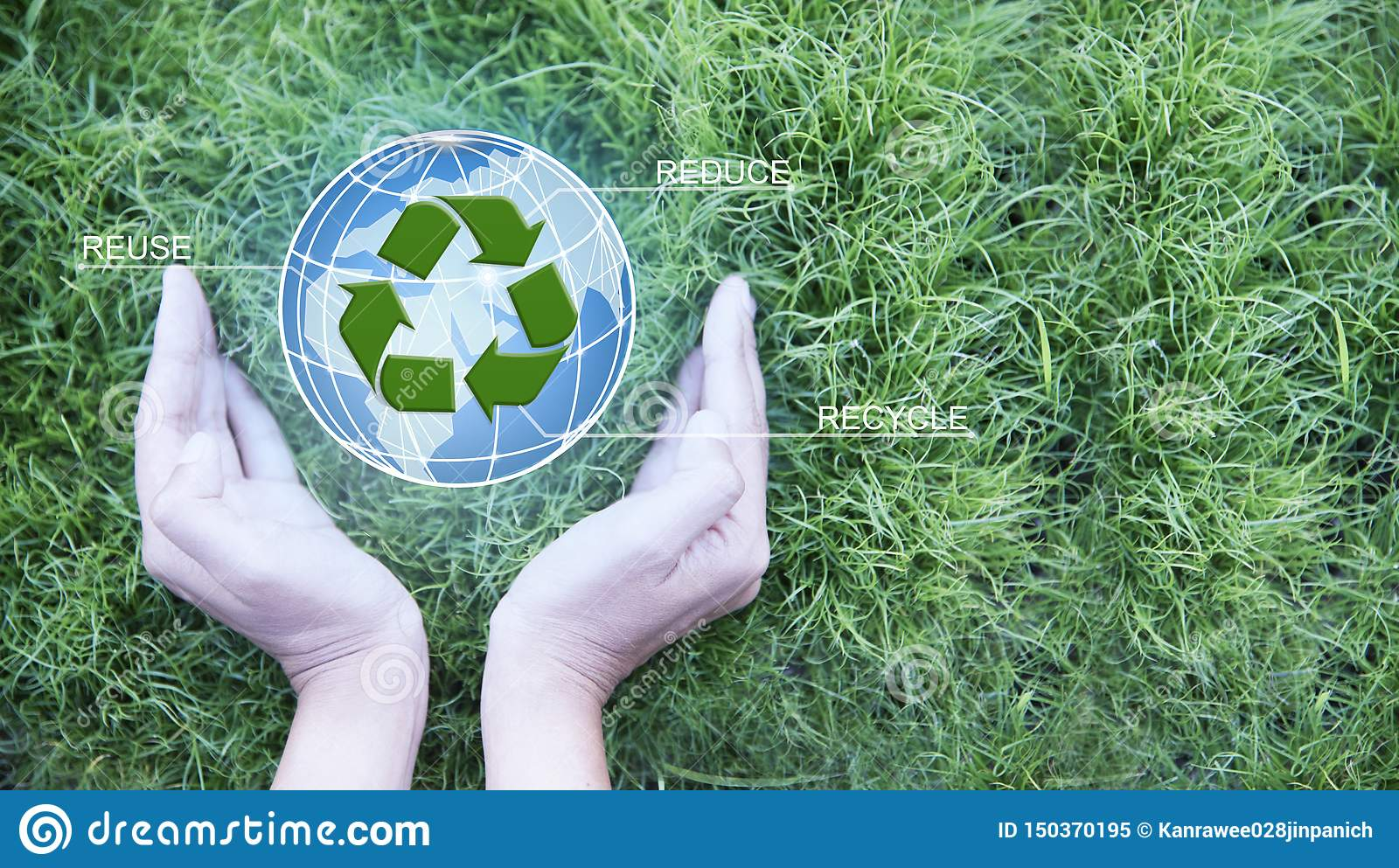 Earth Day.Female hand holding globe and sign of recycling on green grass background. Ecology and environment conservation.Earth da