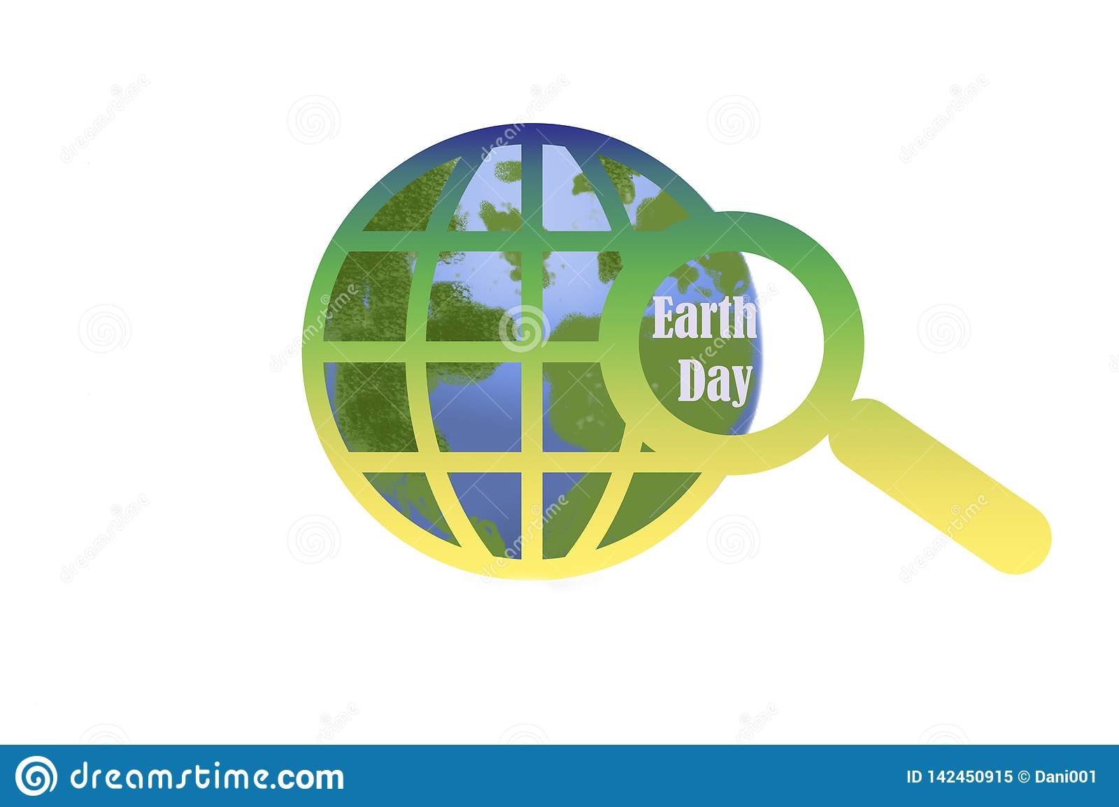 Earth day - globe and magnifying glass on white