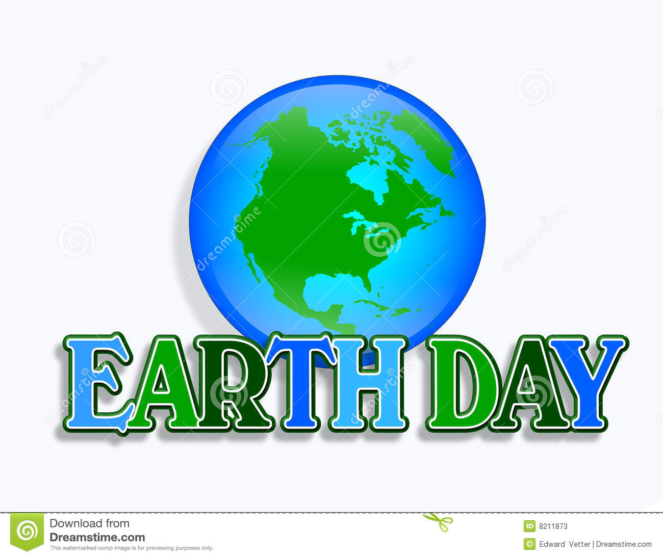 Illustration for Earth Day with planet Earth and 3D text symbol or ...