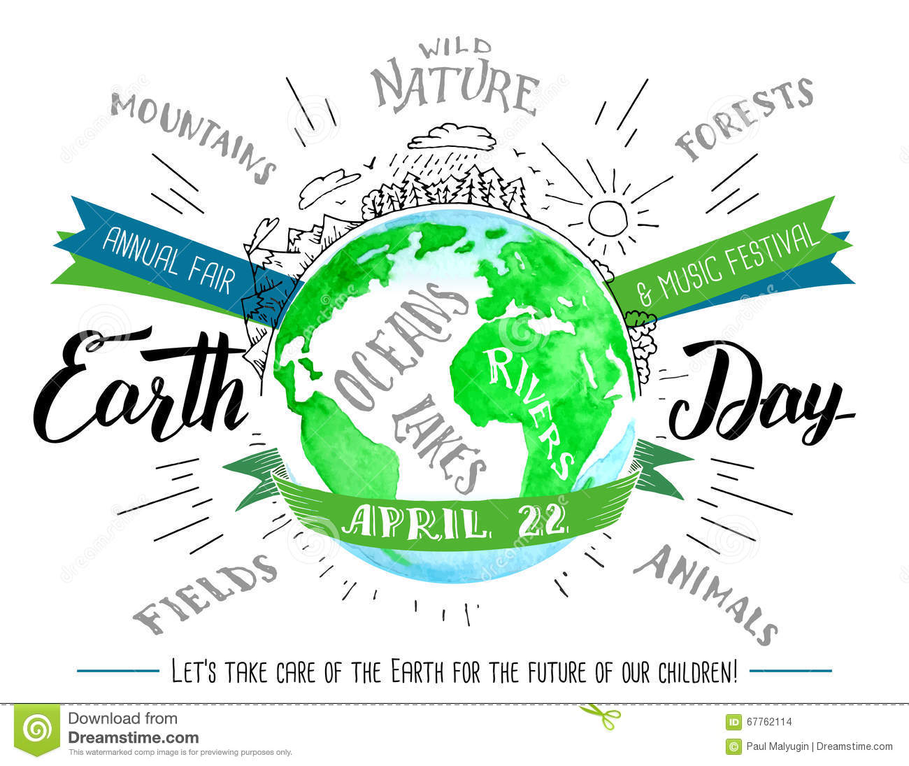 Earth Day Hand Lettering And Calligraphy Watercolor Flyer Stock Vector ...