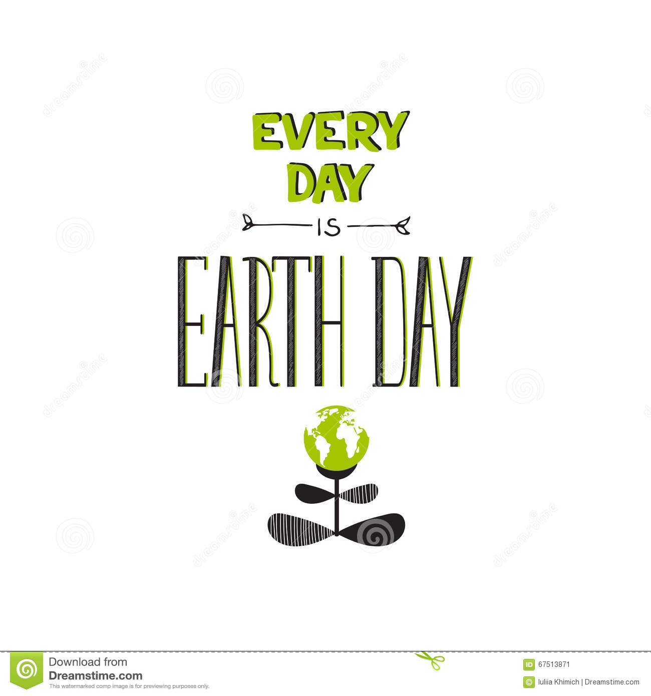 Earth day lettering stock vector image of black happy