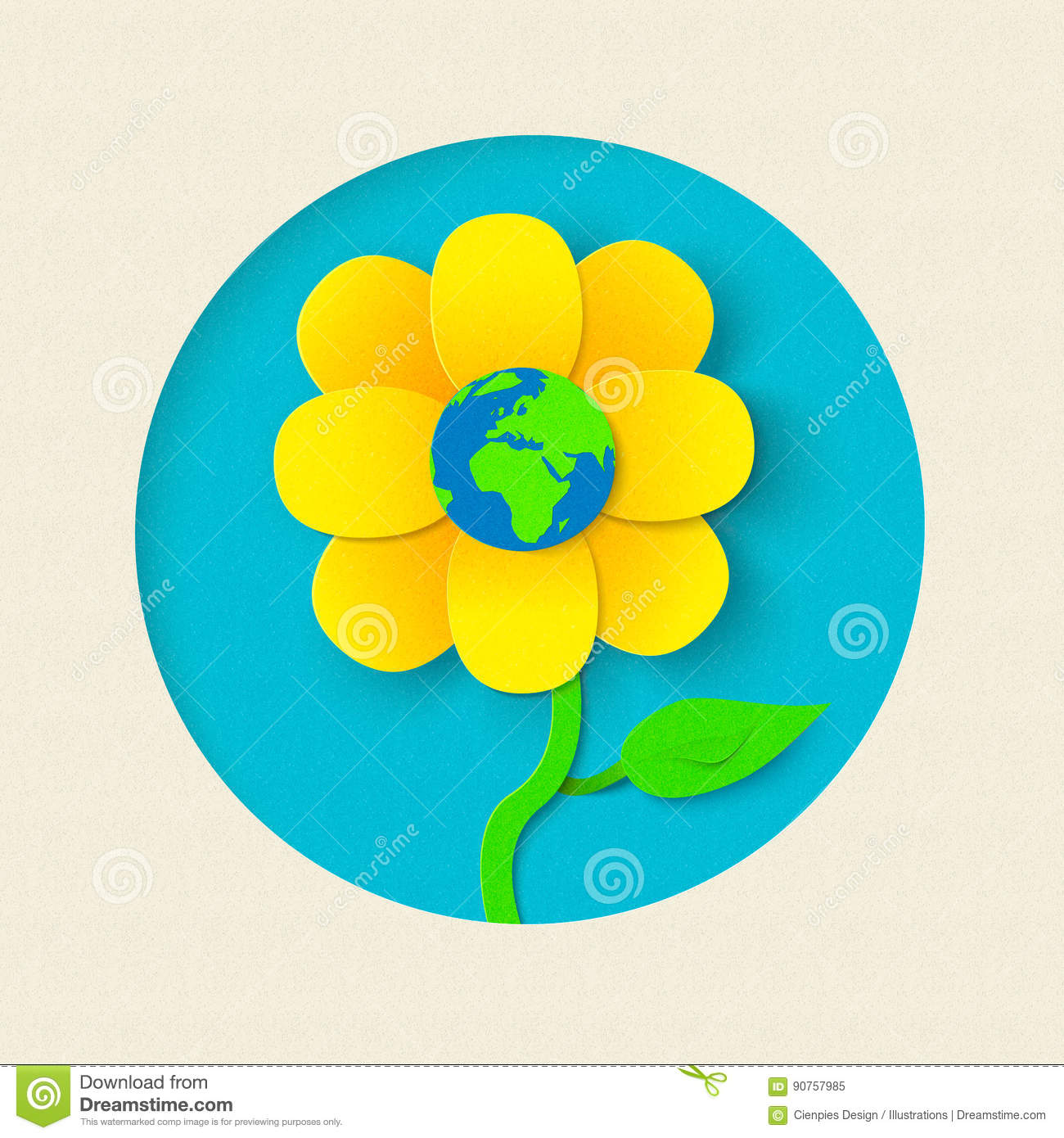 Earth Day Paper Cut Out Flower World Concept Stock Vector