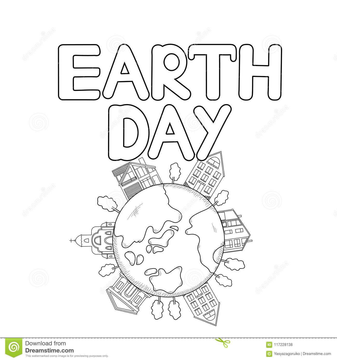 Earth Day Text And Icons Of Earth, Houses, Trees. Coloring Page ...