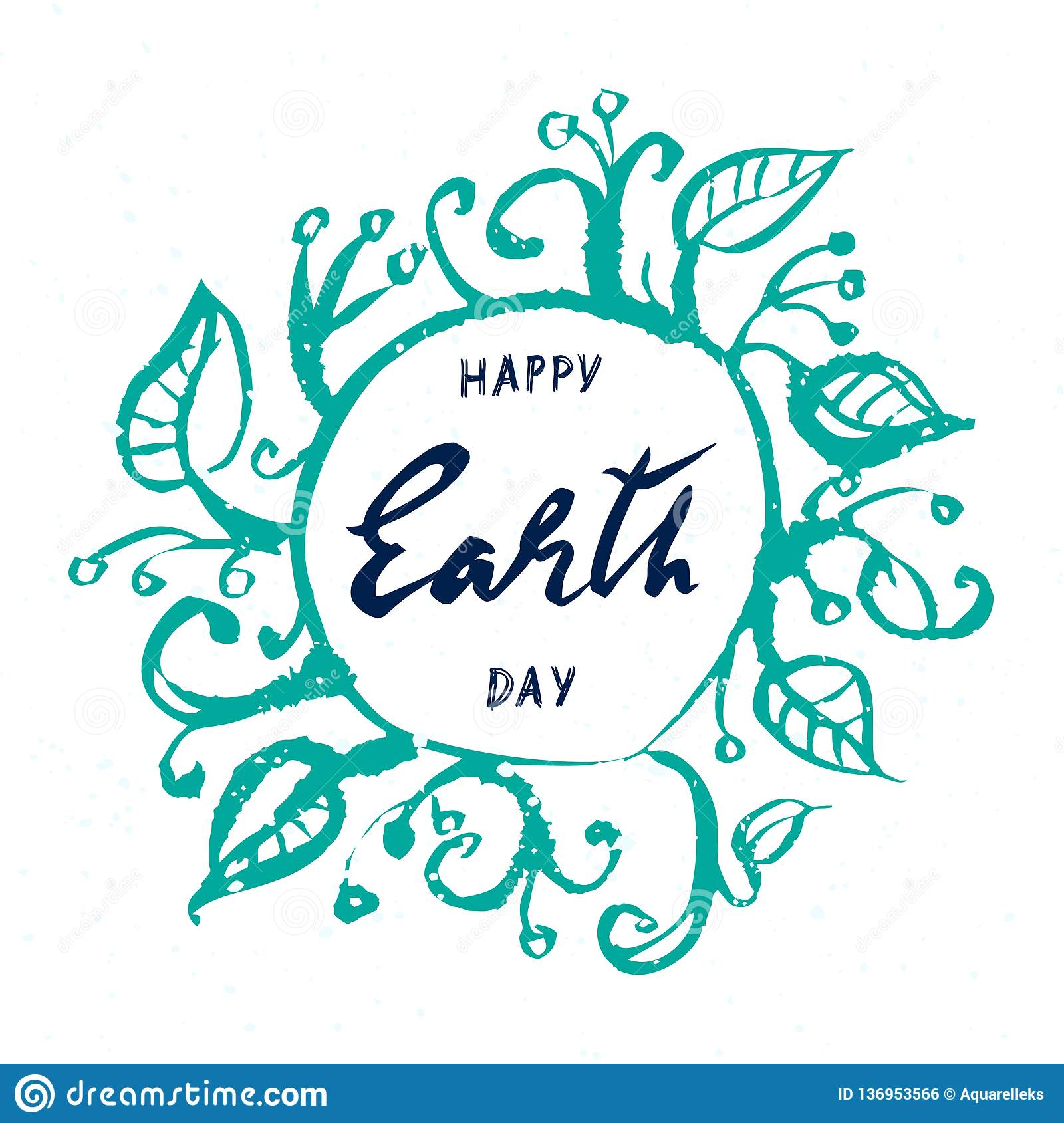 Earth day , hand drawn lettering on white background