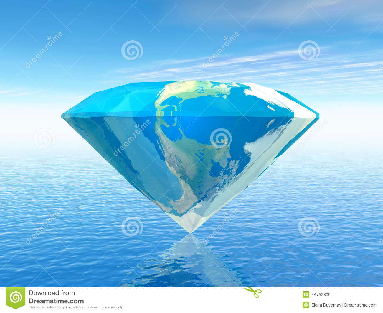 Diamond shape with earth texture upon the ocean.