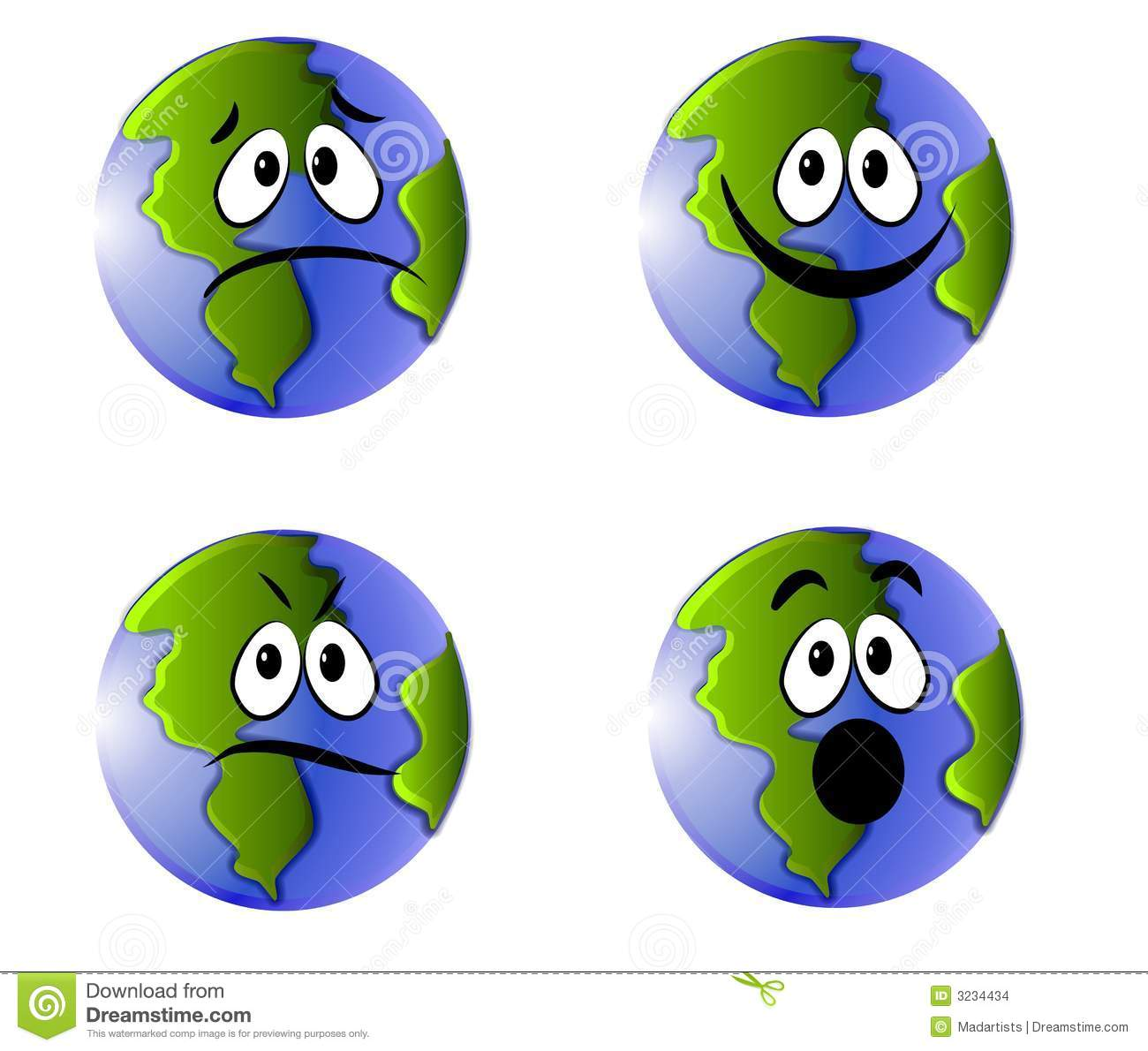 Earth Faces Emoticons Icons Stock Illustration ...