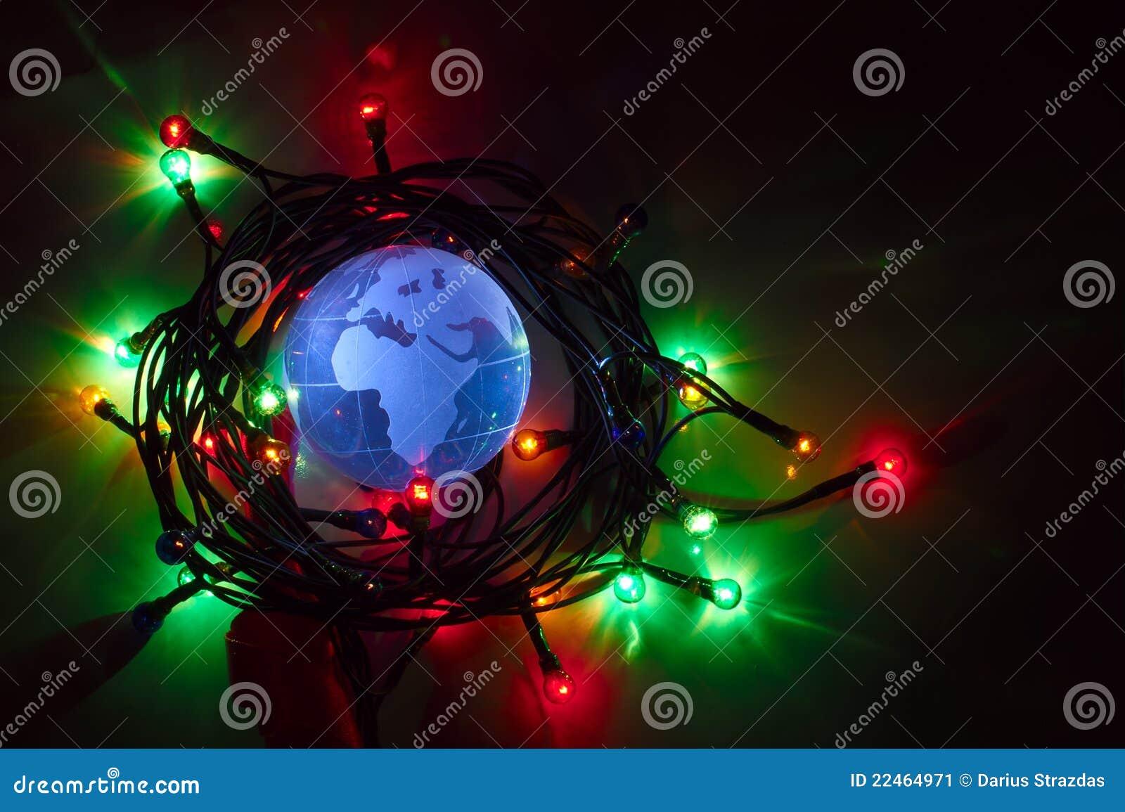 Earth Globe Africa Europe Christmas Light Stock Image