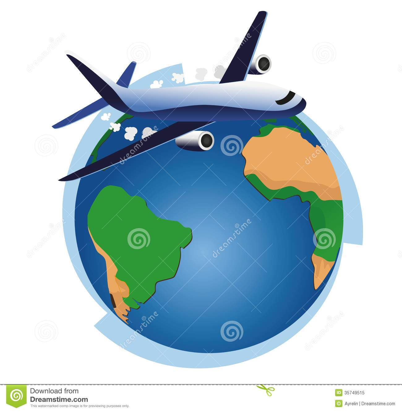 Air plane and international world globe.