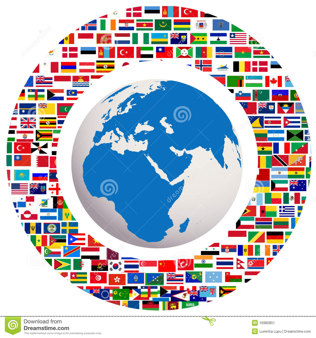 World Globe With Countries