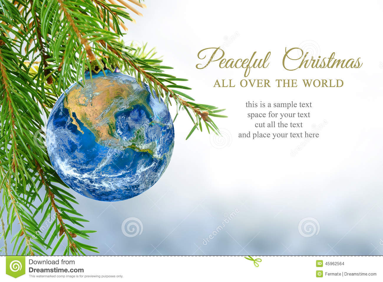 Earth Globe As Christmas Bauble, Metaphor For Universal Peace, E ...