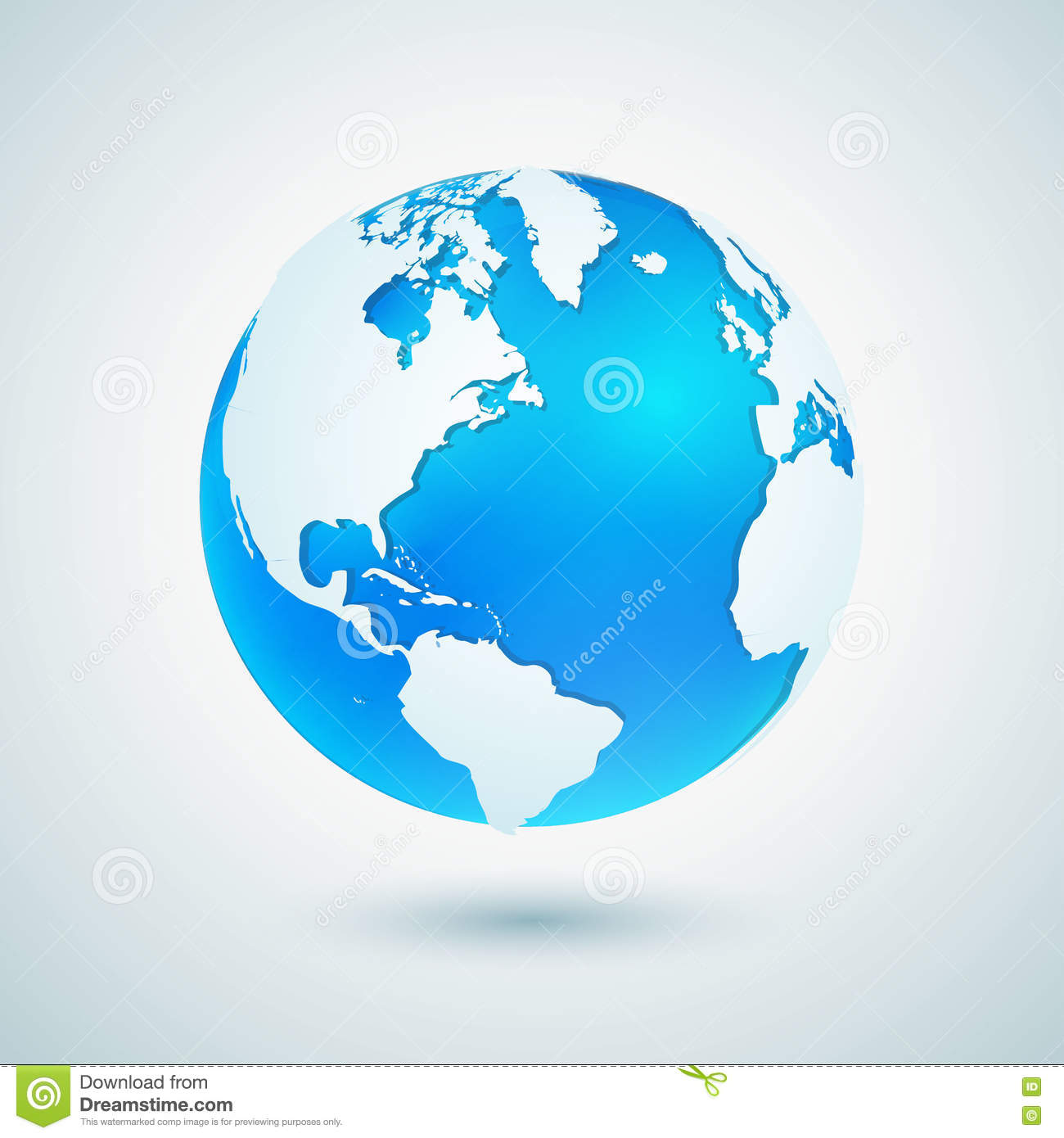 Earth Globe Blue Planet Sphere Icon With White Map Stock Vector