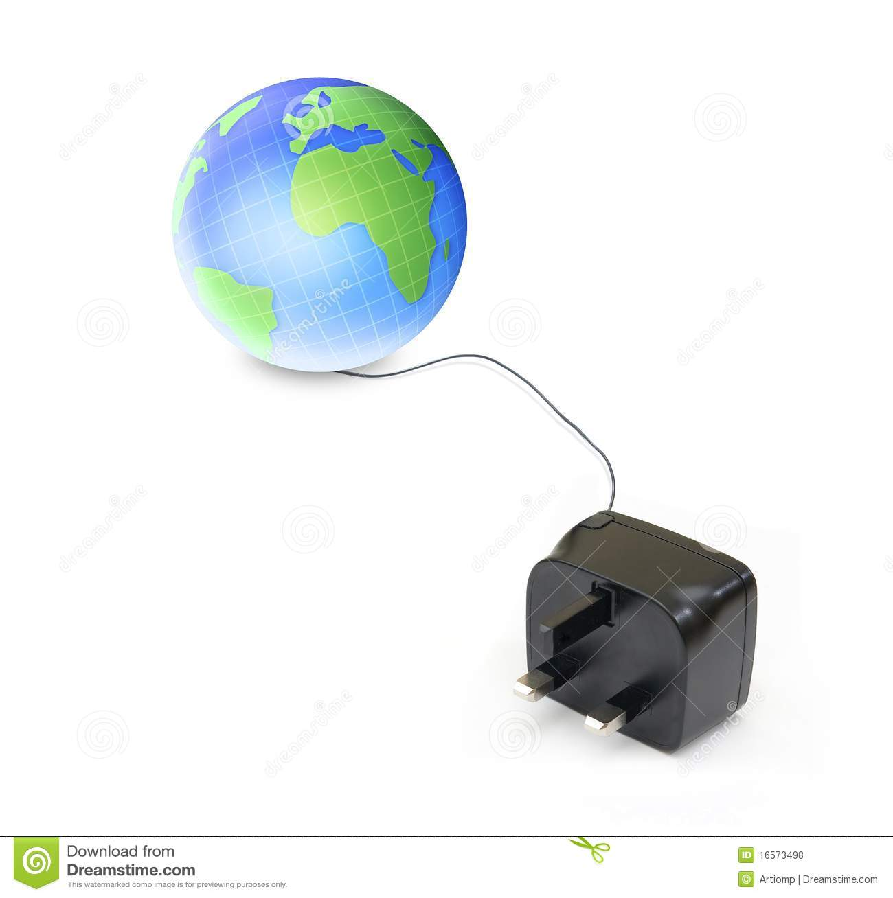 globe and electrical cable stock photo